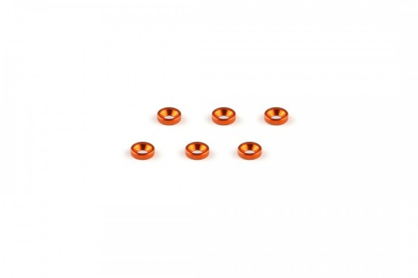 Aluminum M2 Countersunk Washer Orange (6pcs)