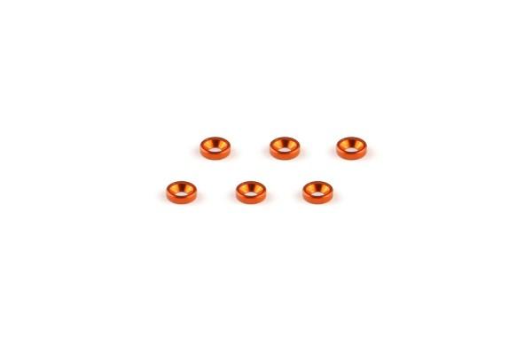 Aluminum M2 Countersunk Washer Orange (6pcs)