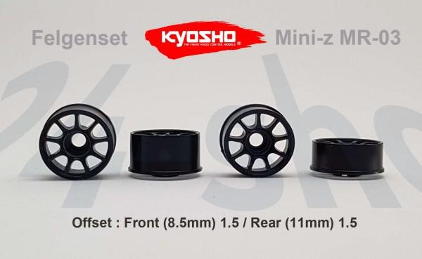 Felgenset Mini-z MR-03 1.5/1.5 black 9 Spoke