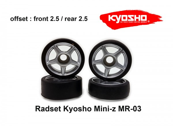 Radset (4) Mini-z MR-03 2.5 silber