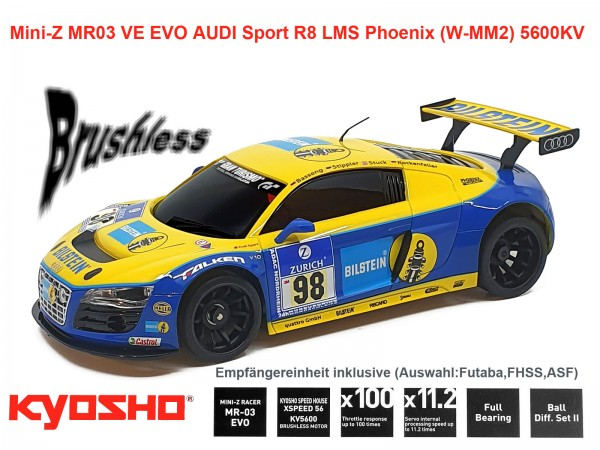 Mini-Z MR03 VE EVO Audi R8 LMS Phoenix Racing (W-MM2) 5600KV