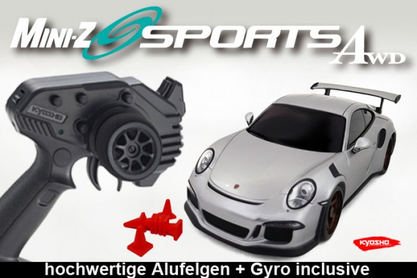 MINI-Z AWD MA020 Sports 4WD Porsche 911 GT3 DREAM II silber (KT531P) Readyset