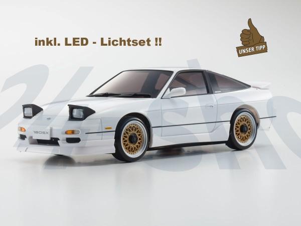 Karosserie Mini-z Nissan 180SX WRX AERO KIT weiss inkl. LED