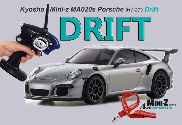 MINI-Z AWD MA020 Sports 4WD Porsche 911 GT3 DRIFT silber