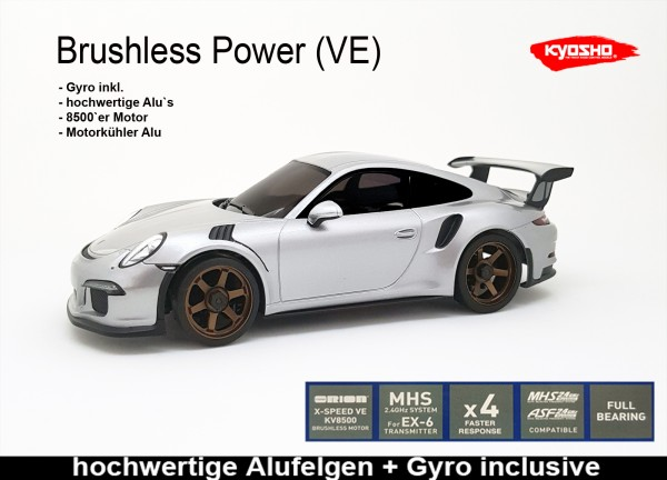 Kyosho Mini-Z AWD | MA-020VE PRO+D EVO | K.321-150S |  4WD Porsche 911 GT3 DREAM silber