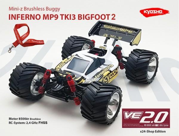 Mini-z Brushless Buggy#VE FHSS INFERNO MP9 TKI3 BIGFOOT 2