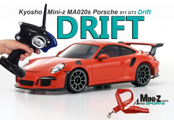 Mini-z AWD MA020 Sports / Allrad Kyosho / Porsche 911 GT3 orange/ DRIFT /